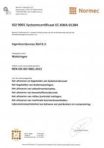 ISO 9001 Systeemcertificaat EC-KWA-01384